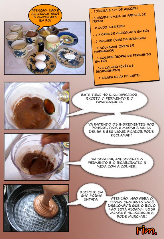 Como fazer bolo de chocolate de liquidificador