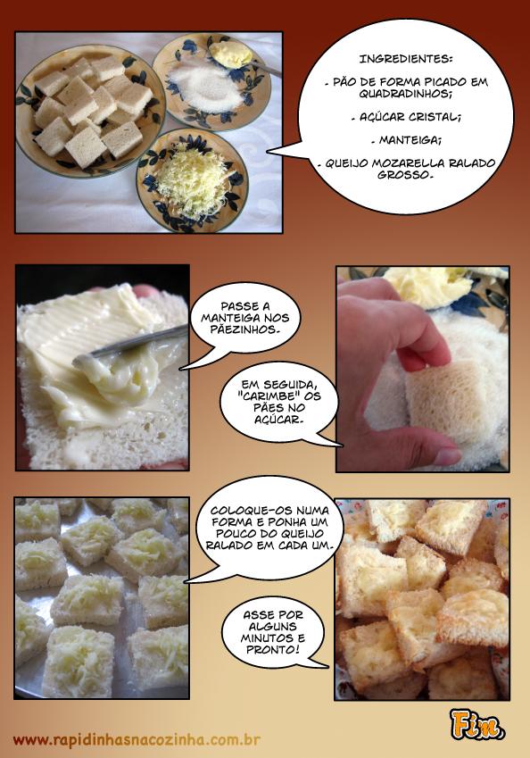 Como fazer torradas com queijo e açúcar