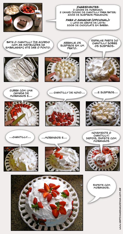 Como fazer torta de morango com chantilly e suspiros