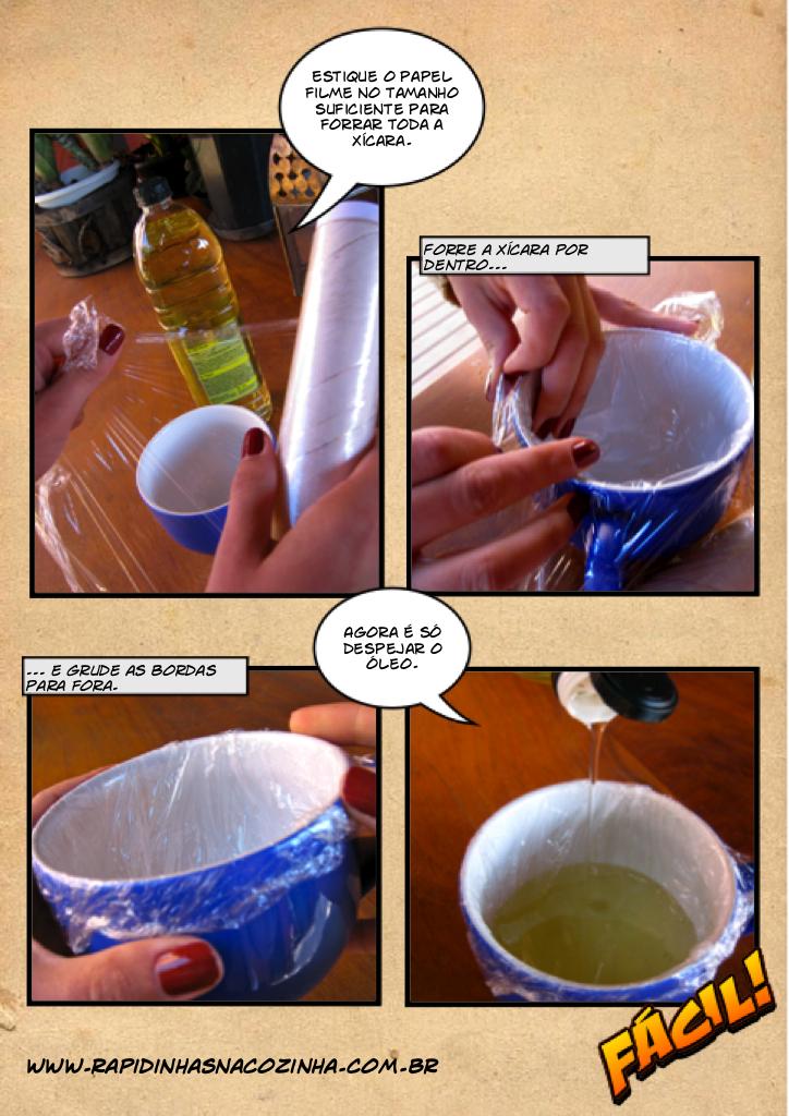 Para evitar que a xícara se suje de óleo