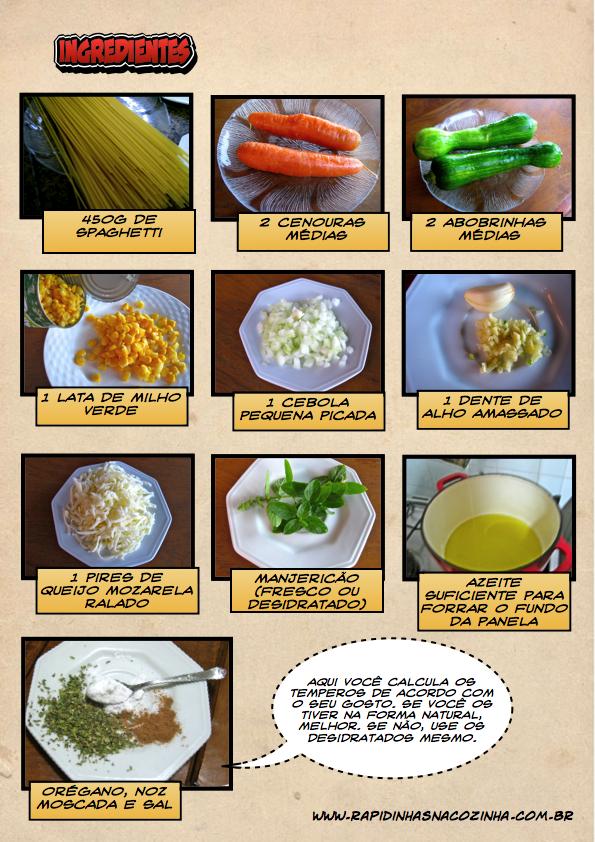 Macarrão primavera - ingredientes