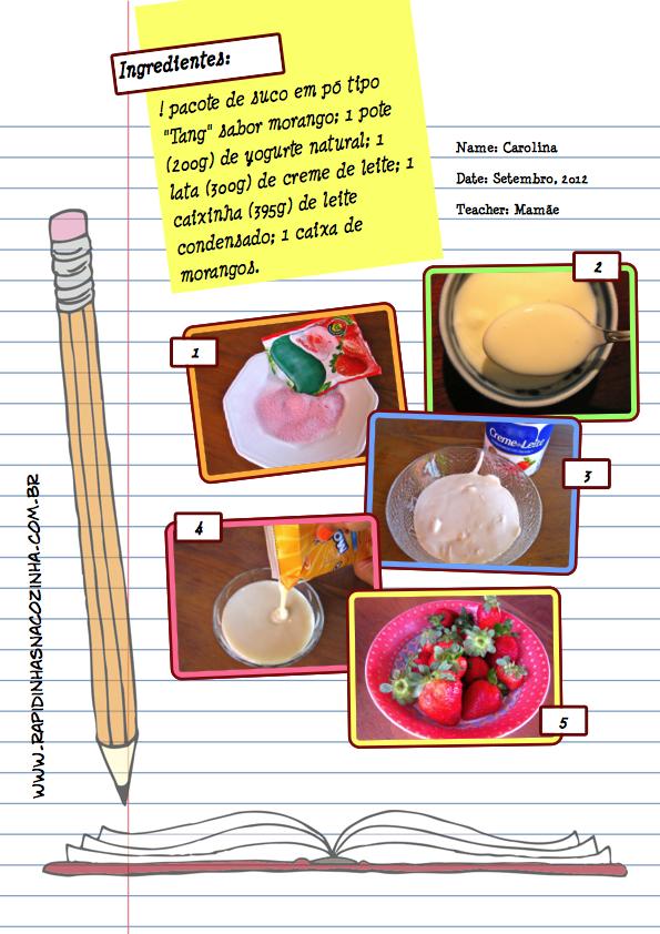 Delícia cremosa de morango - Ingredientes