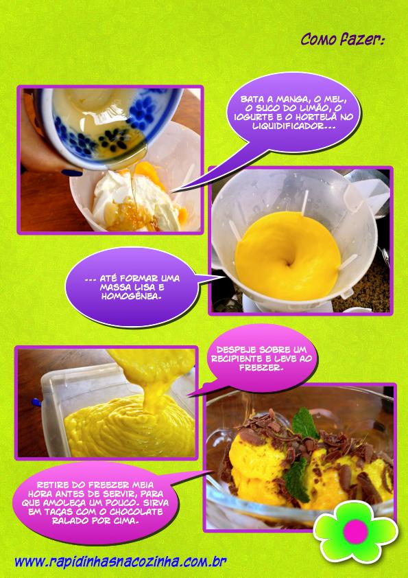 Frozen yogurt de manga - Jamie Oliver - como fazer