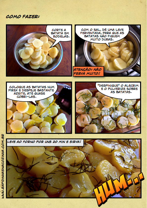 Batadas ao forno temperadas com alecrim - preparo
