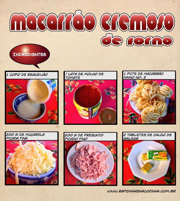 Como fazer Macarrão cremoso de forno - ingredientes