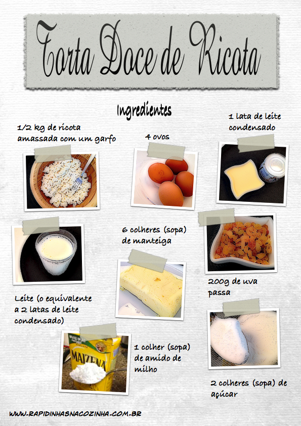 Torta doce de ricota - ingredientes
