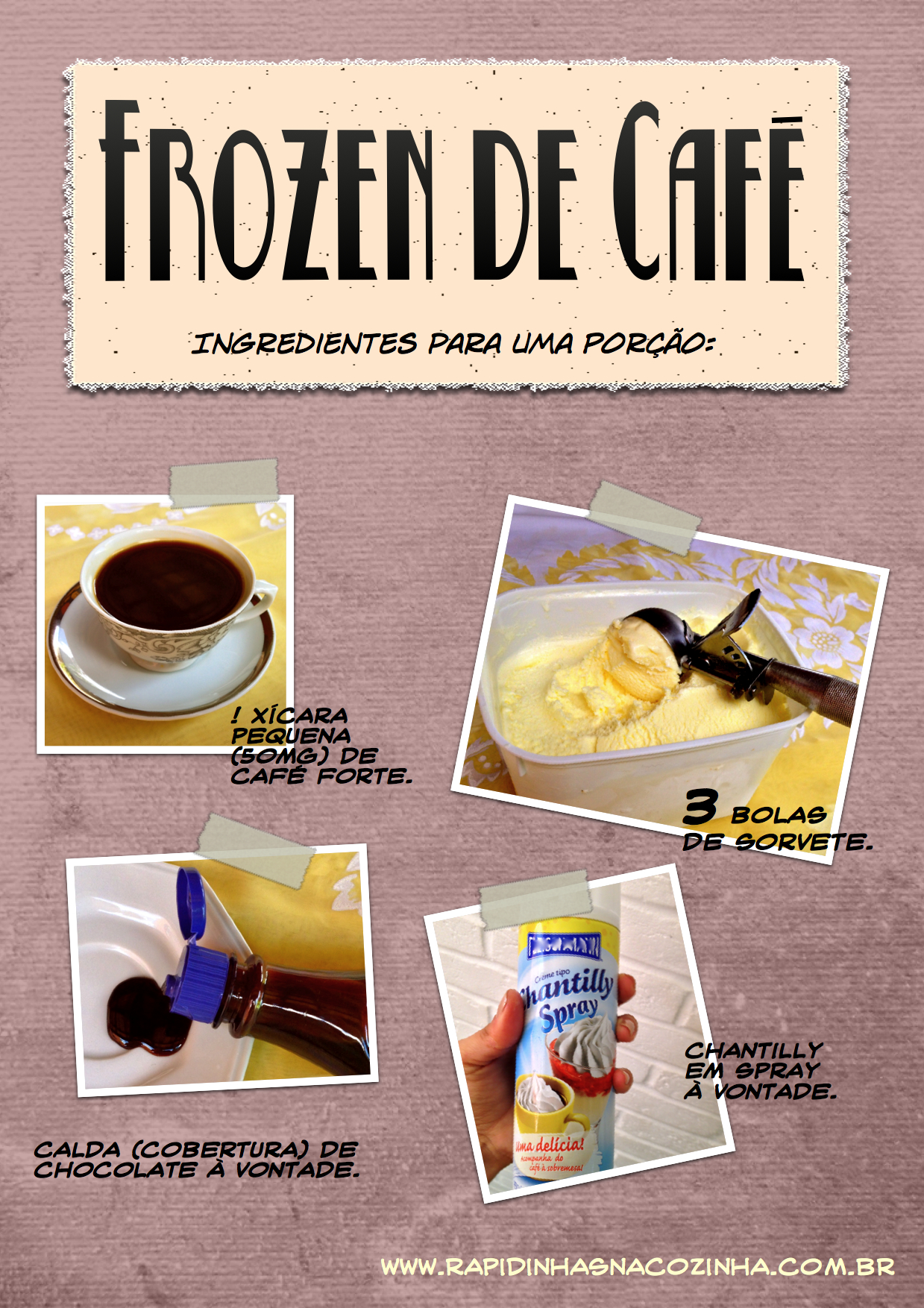 Frozen de Café - ingredientes