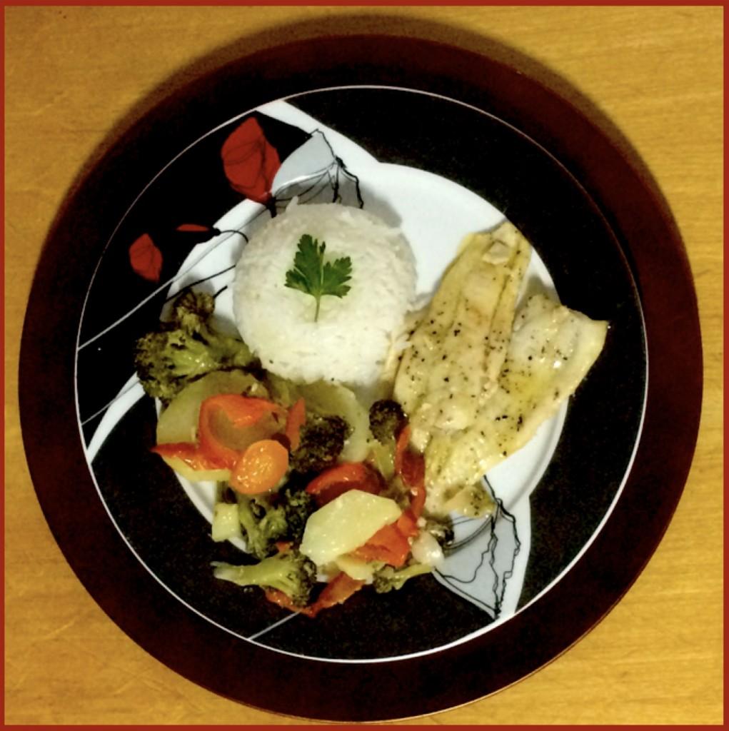 Peixe ao forno com legumes