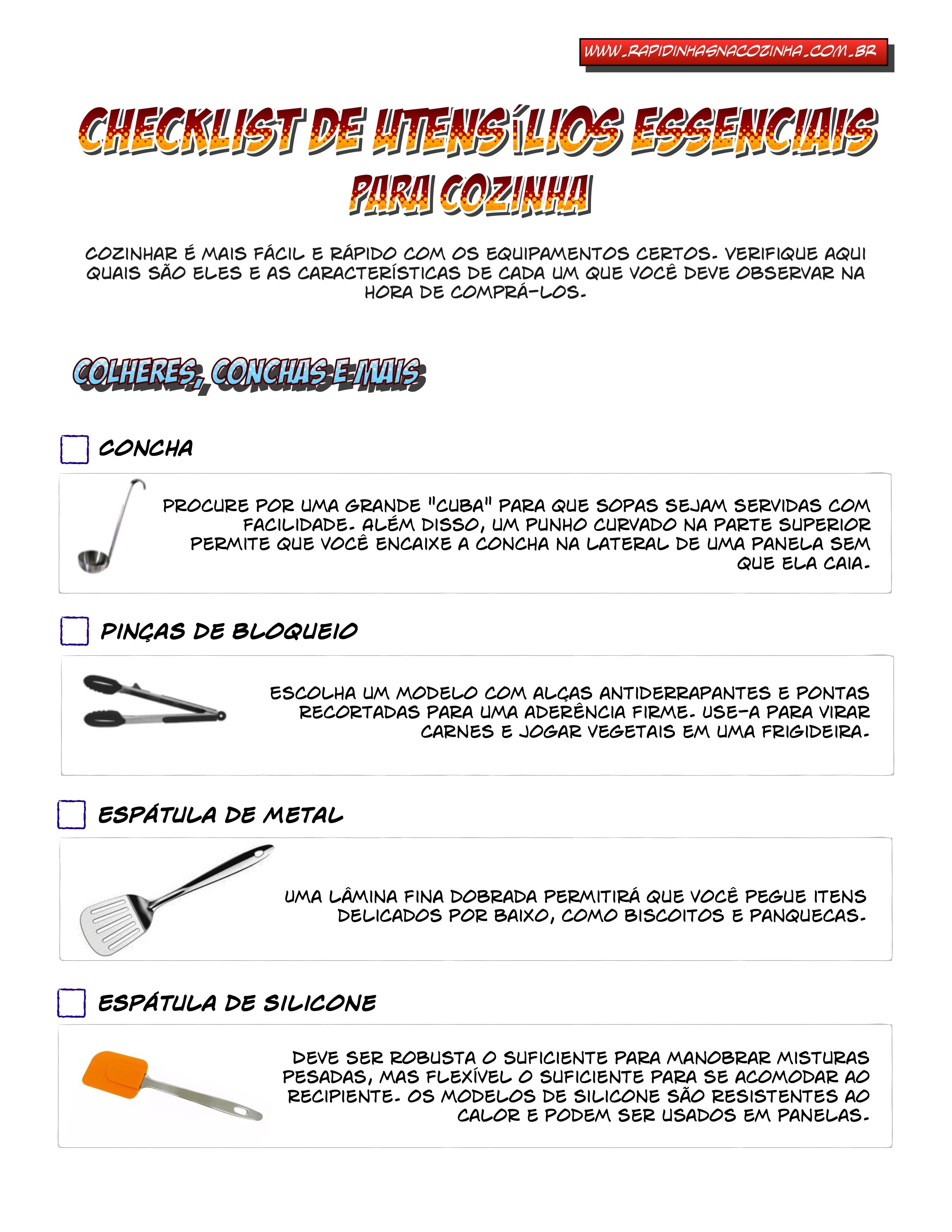 Utens Lios B Sicos De Cozinha Checklist Rapidinhas Na Cozinha